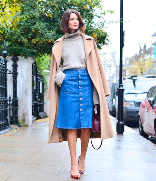 Джинсовая юбка и свитера